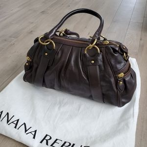 Banana Republic dark brown leather satchel handbag